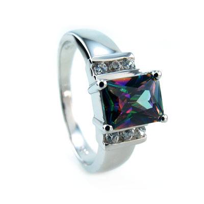 Rainbow Emerald Cut Mystic Topaz Ring Silverbestbuy