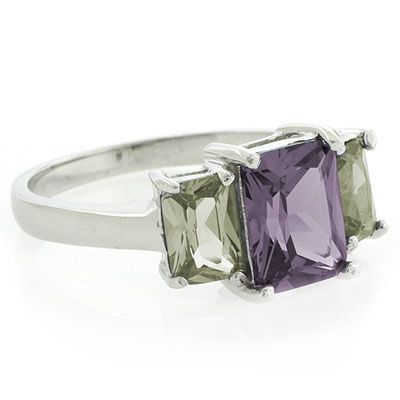 3 emerald cut alexandrite silver ring silverbestbuy