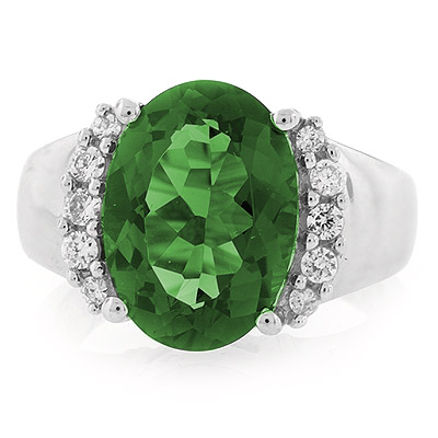 oval cut emerald cocktail ring silverbestbuy
