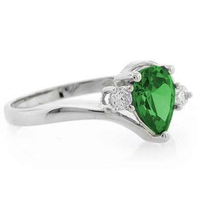 pear cut emerald solitaire ring silverbestbuy