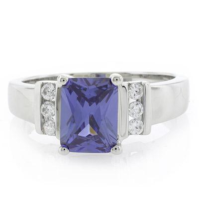 emerald cut sterling silver tanzanite ring silverbestbuy