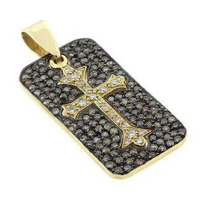 Pendants on Silver Jewelry Gold Jewelry Chocolate Diamond Dog Tag Cross Pendant
