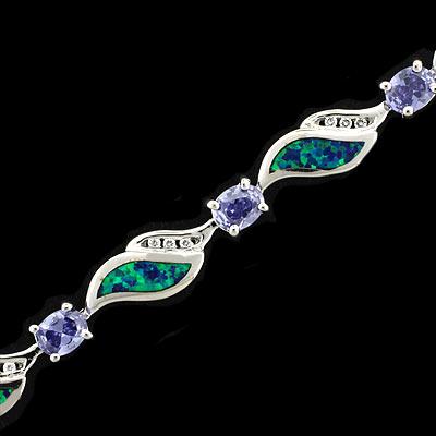 Australian Opal Bracelet With Tanzanite Silverbestbuy