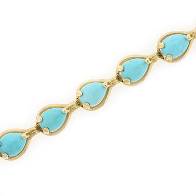 "14k Yellow Gold Turquoise Bracelet 7/"" 8/"""