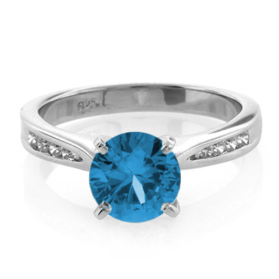 Blue Topaz Engagement Silver Ring