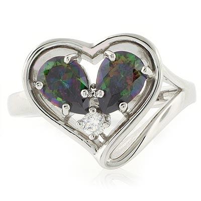 heart shape silver ring with mystic topaz silverbestbuy