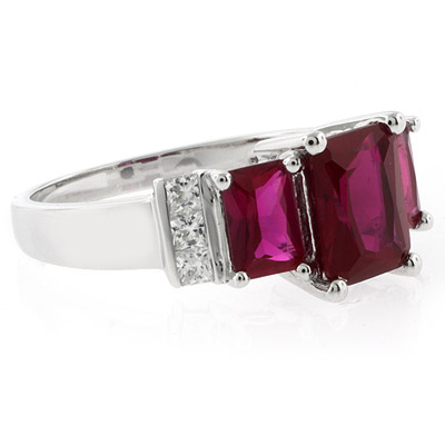 Silver Jewelry / Rings / 3 Emerald Cut Stone Ruby Ring
