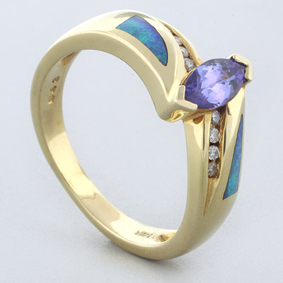 Natural Opal Ring 0 07 ct tw Diamonds 14K White Gold 43 ct