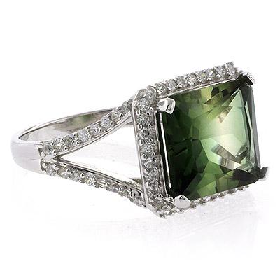 emerald cut watermelon tourmaline ring silverbestbuy