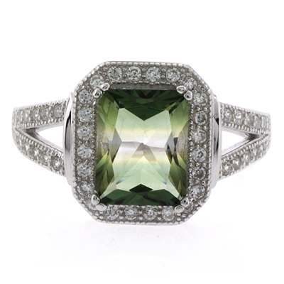 watermelon tourmaline emerald cut silver ring silverbestbuy