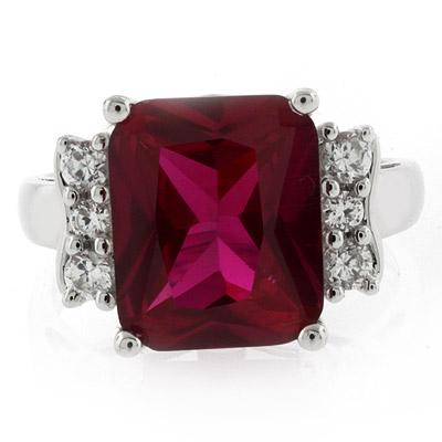 Sterling Silver Emerald Cut Big Red Ruby Ring Silverbestbuy