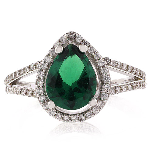 pear cut micro pave emerald ring silverbestbuy