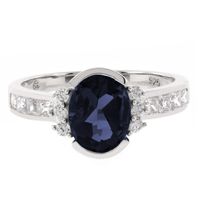 Oval Cut Channel Setting Sapphire Ring | SilverBestBuy