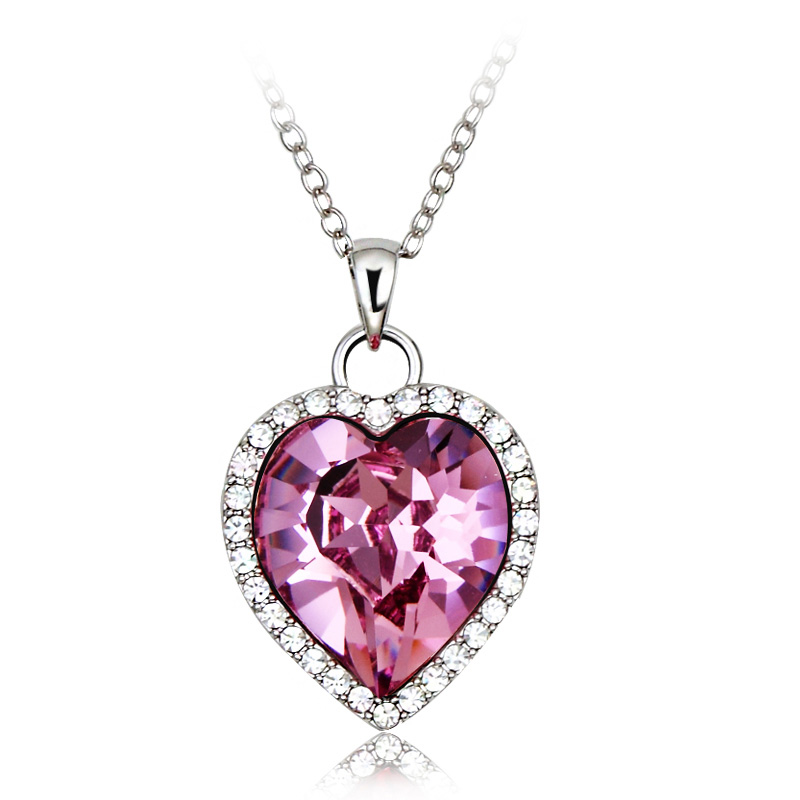 pink heart swarovski elements 18k white gold plated