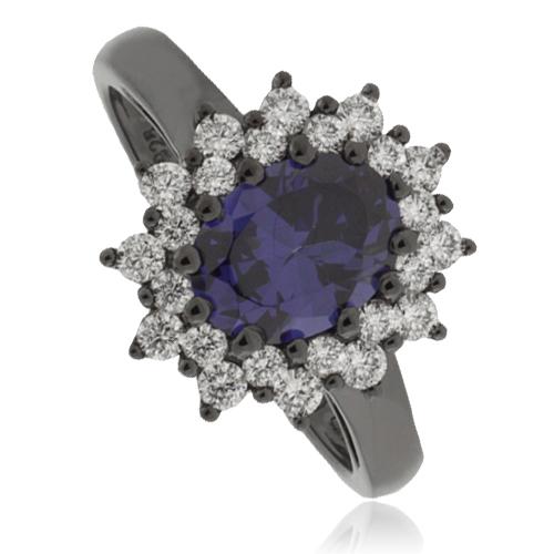 princess kate tanzanite black silver ring silverbestbuy