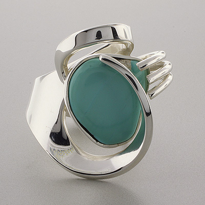 Genuine Turquoise Silver Ring Hand Made Unique Turquoise