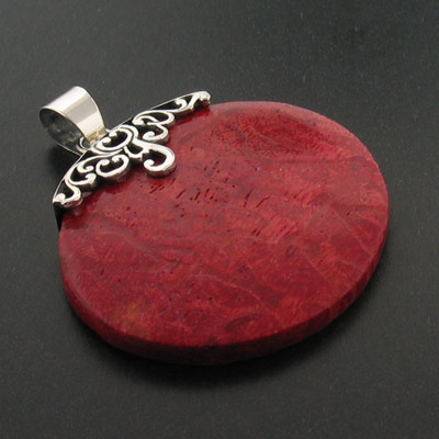 Sterling silver genuine red coral pendant from mexico silverbestbuy sterling silver genuine red coral pendant mozeypictures Images