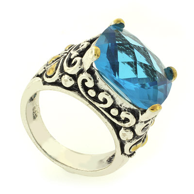 Inspired silver ring with blue topaz silverbestbuy for David yurman inspired jewelry rings