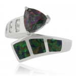 Trillion Cut Mystic Topaz Opal Ring