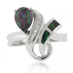 Huge Trillion Cut Mystic Topaz Opal Ring