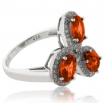 3 Oval Cut Fire Cherry Opal .925 Sterling Silver Ring