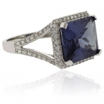 Emerald Cut Color Change Alexandrite Silver 925 Ring