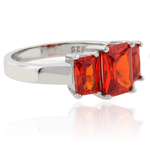 Five Stone Fire Opal Sterling Silver Ring