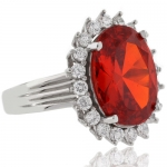 Huge Oval Cut Mexican Fire Cherry Opal Silver Ring