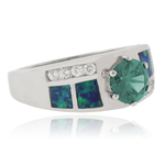 Round Cut Alexandrite Opal Sterling Silver Ring