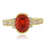 Oval Cut Channel Setting Fire Opal Ring
