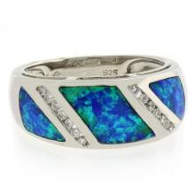 Blue Opal Sterling Silver Unisex Ring