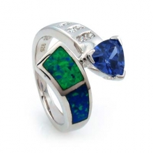 Australian Opal Ring with Tanzanite and CZ