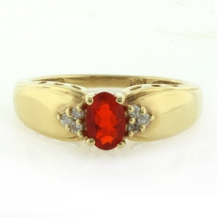 Mexican Fire Cherry Opal Diamond 14k Solid Yellow Gold Ring