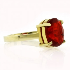 14K Yellow Gold Fire Cherry Opal Ring