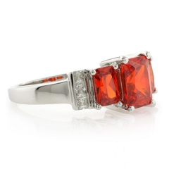 3 Stone Mexican Fire Cherry Opal Silver Ring