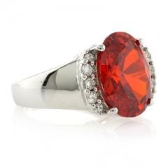 Huge Fire Cherry Opal Silver Ring