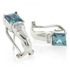 Square Alexandrite Fashion Silver Earrings