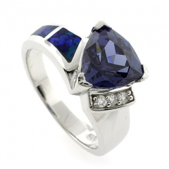 Australian Opal and Tanzanite Ring
