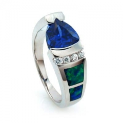 Amazing Opal and Tanzanite Silver Ring