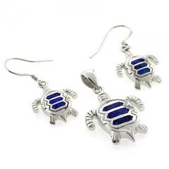 Australian Opal Turtle Pendant and Earrings Set