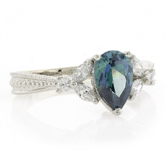 Blue Diamond Sterling Silver Ring