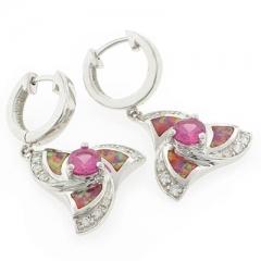 Pink Opal Silver Earrings