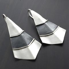Fan Silver Oxidized Earrings