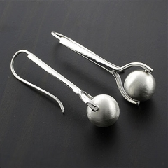 White Ball Silver Earrings