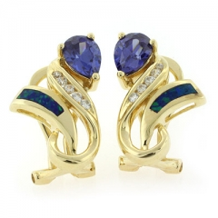 Very Elegant Australian Opal Tanzanite Earrings