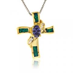 Australian Blue Opal Tanzanite Cross Pendant