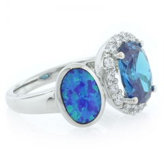 Oval Cut Blue Topaz with Australian Opal Ring