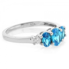 3 Oval Cut Stone Blue Topaz Silver Ring