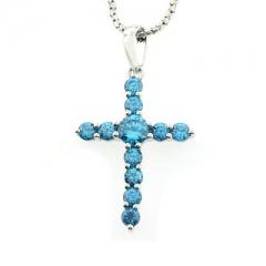 Blue Topaz Silver Cross Pendant