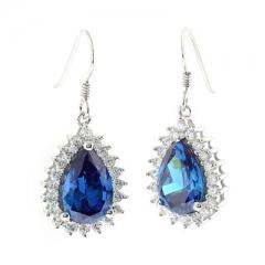 Blue Topaz Silver Earrings Pear Cut